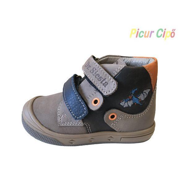 Dr. Siesta - átmeneti gyerekcipő, magas lábfejre is, barna, kék denevéres