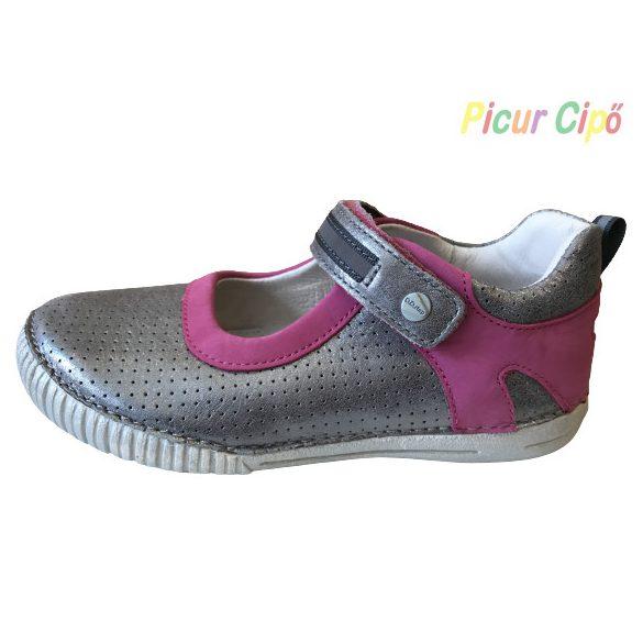 D.D. Step - balerina nyitott cipő, pink, ezüst