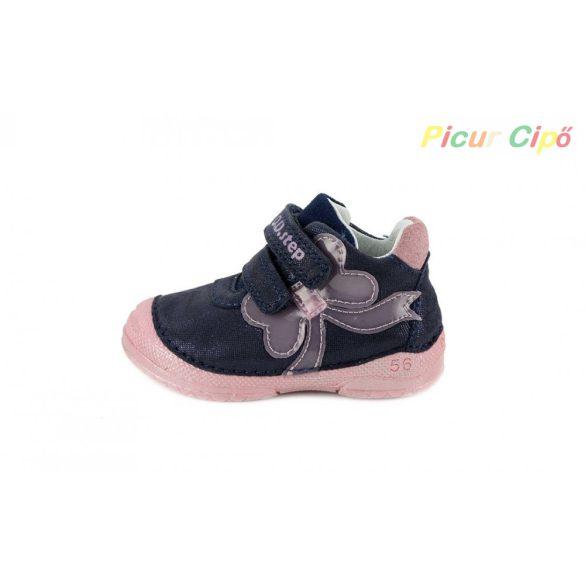 D.D. Step - átmeneti gyerekcipő, sötétkék, lila, masnis