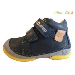 D.D. Step -  hajlékony talpú, átmeneti gyerekcipő, bokszbőr, kék, sárga talp