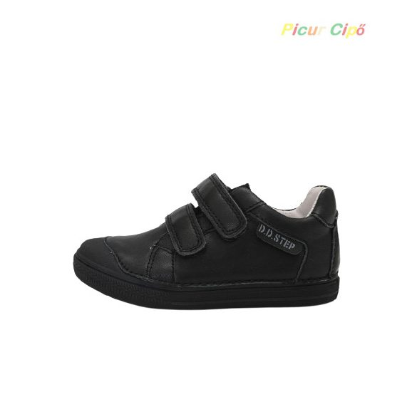 D.D. Step - bokszbőr, átmeneti gyerekcipő, alacsony, 2 tépős, fekete