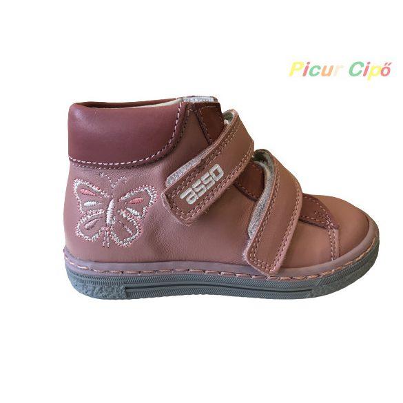 Asso -  átmeneti gyerekcipő, bokszbőr, magas lábfejre is, mályva, pillangós