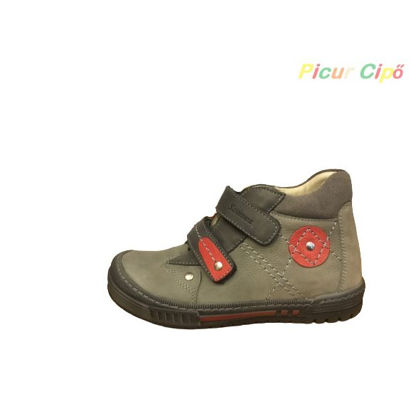 Szamos - átmeneti gyerekcipő, vékony lábra, szürke, piros
