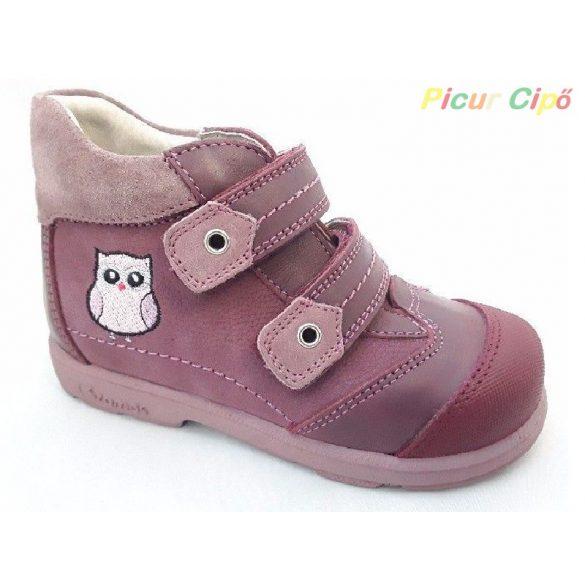 Szamos - szupinált átmeneti gyerekcipő, rózsaszín, baglyos