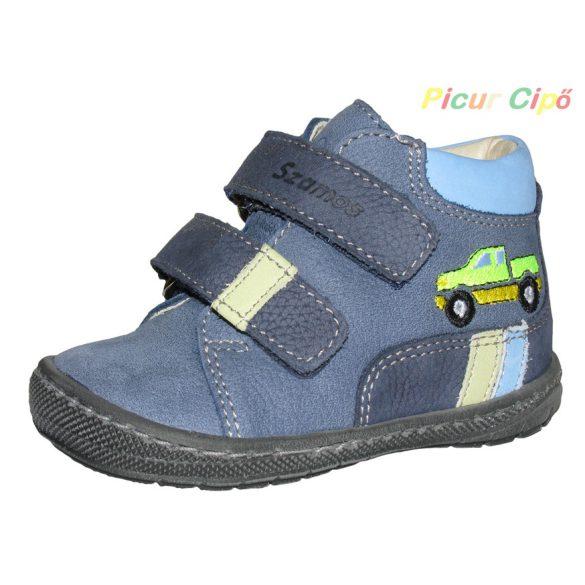 Szamos - puha talpú, első lépés, átmeneti gyerekcipő, kék, sárga autós
