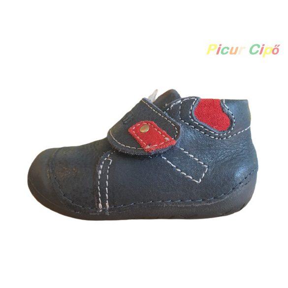 Primigi - extra hajlékony, puha talpú, átmeneti, első lépés gyerekcipő, bokszbőr, sötétkék, piros
