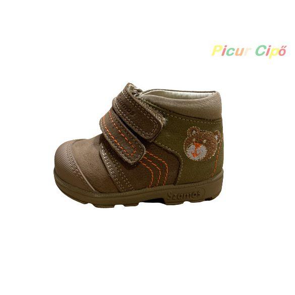 Szamos - szupinált átmeneti gyerekcipő, keki, barna, macis