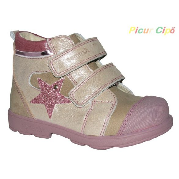 Szamos - szupinált átmeneti gyerekcipő, rózsaszín, csillagos