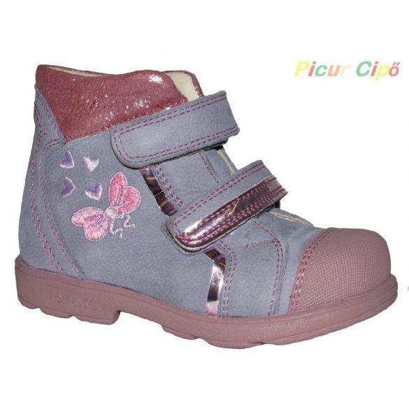 Szamos - szupinált átmeneti gyerekcipő, rózsaszín, lila pillangós