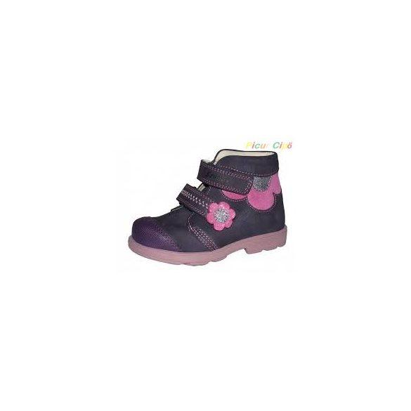 Szamos - szupinált átmeneti gyerekcipő, lila, pink, virágos