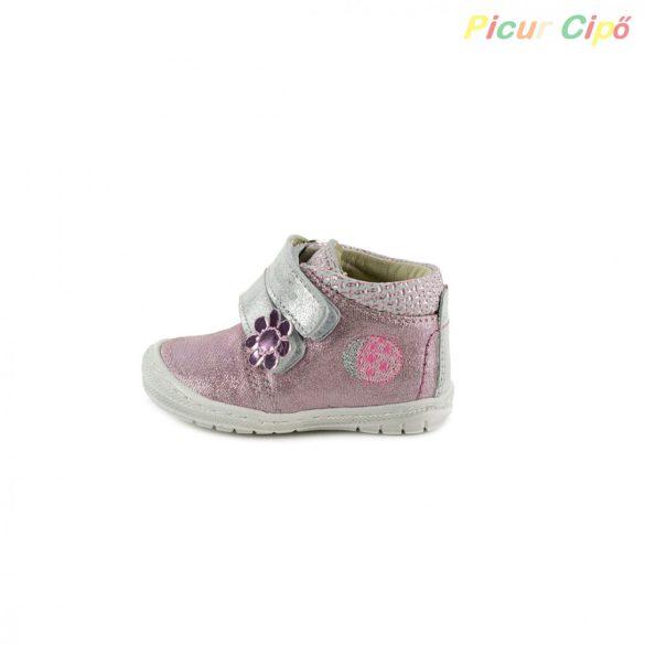 Szamos - első lépés átmeneti gyerekcipő, rózsaszín, ezüst, katicás