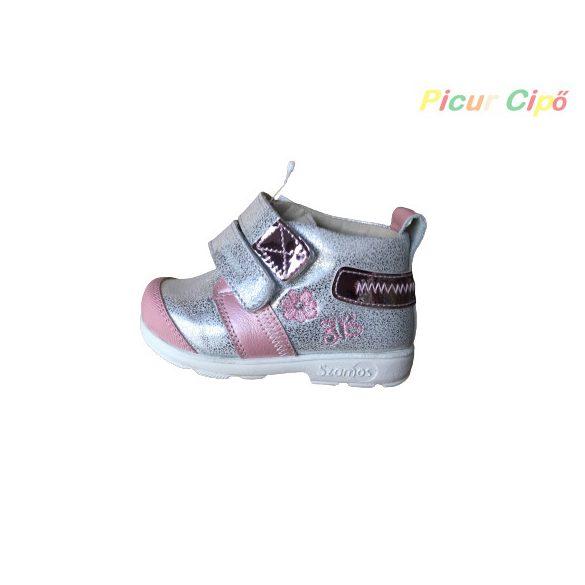Szamos - szupinált átmeneti gyerekcipő, ezüst, rózsaszín