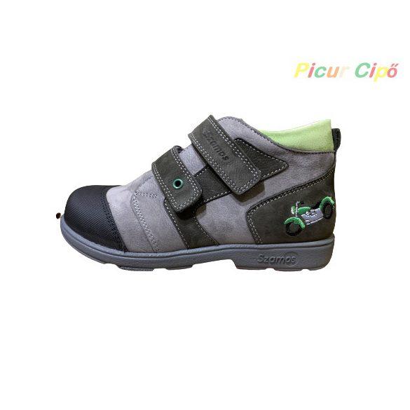 Szamos - szupinált átmeneti gyerekcipő, szürke, zöld motoros