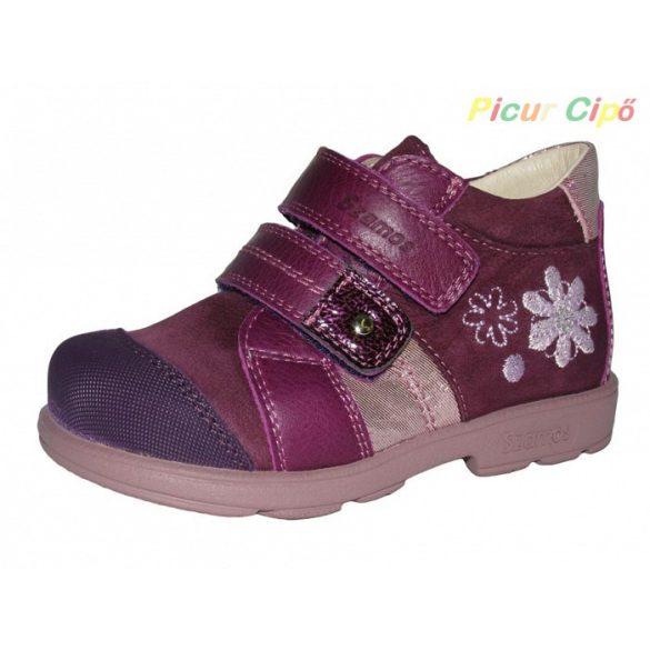 Szamos - szupinált átmeneti gyerekcipő, lila, virágos
