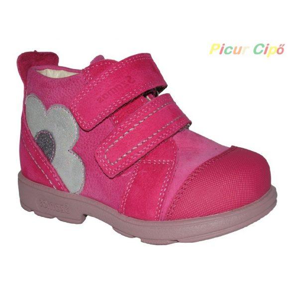 Szamos - szupinált átmeneti gyerekcipő, rózsaszín, virágos