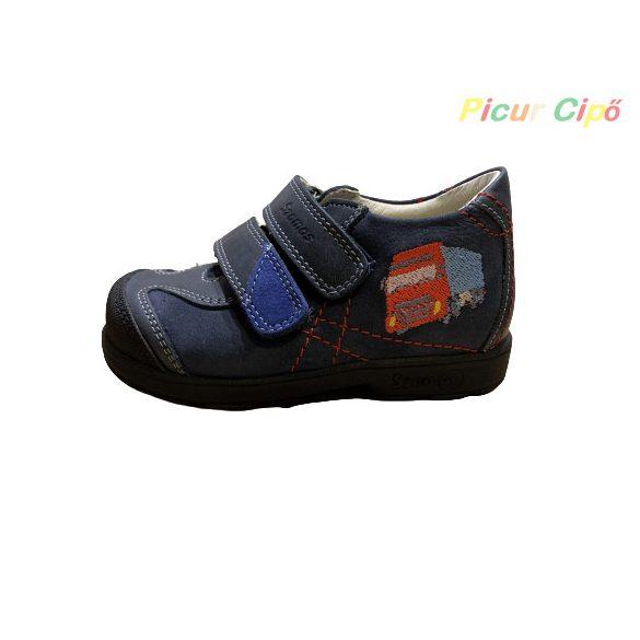 Szamos - szupinált átmeneti gyerekcipő, kék, piros kamionos