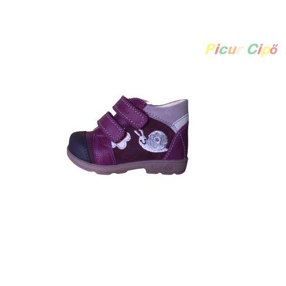 Szamos - szupinált átmeneti gyerekcipő, lila, csiga-bigás, virágos