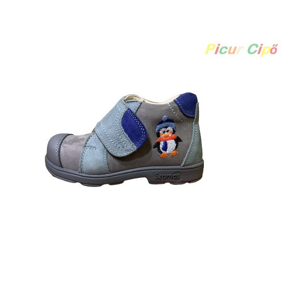 Szamos - szupinált átmeneti gyerekcipő, szürke, kék, pingvines