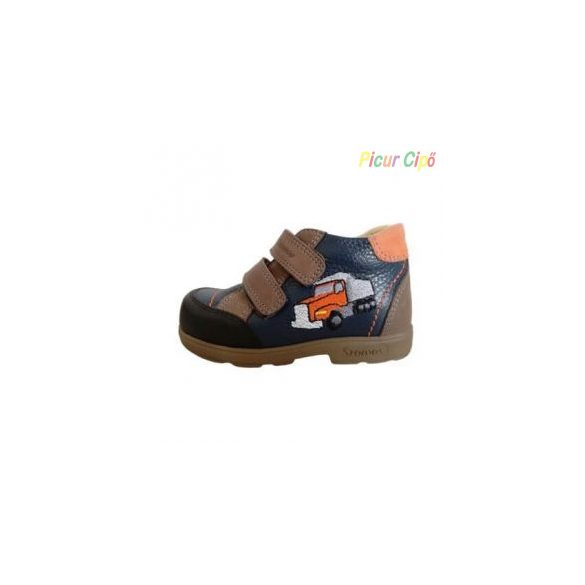 Szamos - szupinált átmeneti gyerekcipő, bokszbőr, kék, teherautós