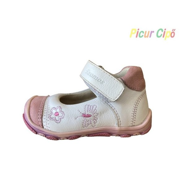 SZAMOS - balerina cipő, fehér bokszbőr, virágos-pillangós