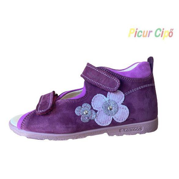 SZAMOS - szupinált gyerekszandál, lila csillogó virágos