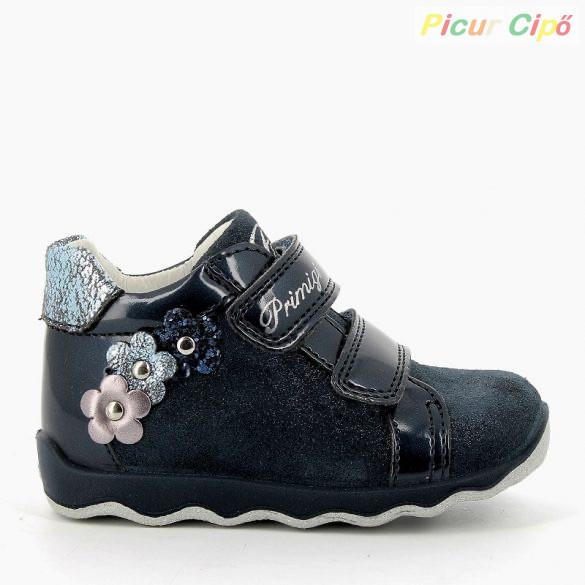 Primigi - átmeneti gyerekcipő, sötétkék, lakk, virágos