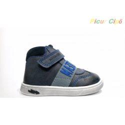Primigi - vékony lábfejre, szűk modell, bokszbőr, átmeneti gyerekcipő, kék, betűs
