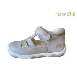 GEOX - balerina cipő, bézs virágos lélegző talpon