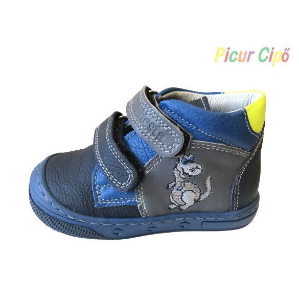 Dr. Siesta - átmeneti gyerekcipő, bokszbőr, magas lábfejre is, szürke, kék, dinós