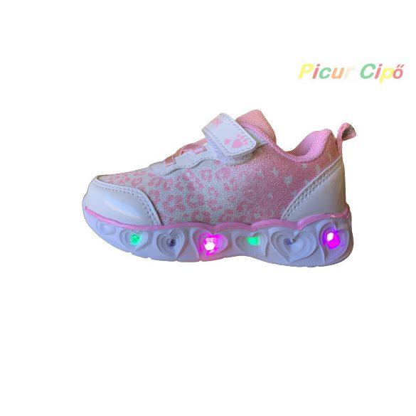 Wink - LED villogós, sportos, átmeneti, vászon gyerekcipő, fehér, rózsaszín
