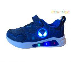 Wink - LED villogós, sportos, átmeneti, vászon gyerekcipő, kék, pókemberes