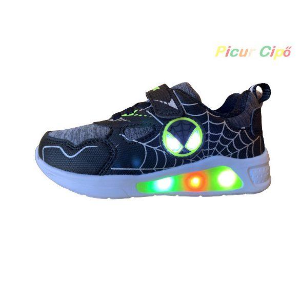 Wink - LED villogós, sportos, átmeneti, vászon gyerekcipő, zöld, fekete, pókemberes