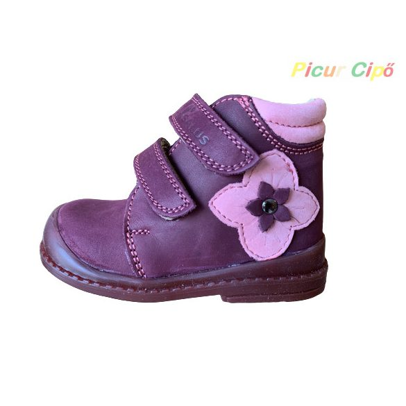 Salus - szupinált prémium flexi FLO 810 átmeneti gyerekcipő, bordó, rózsaszín, virágos