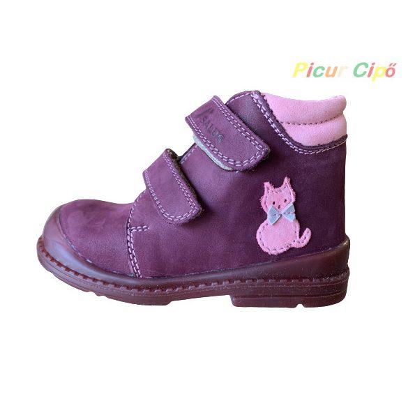 Salus - szupinált prémium flexi FLO 810 átmeneti gyerekcipő, bordó, rózsaszín, cicás