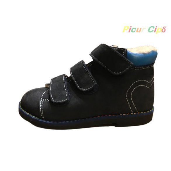 Salus - szupinált prémium FLO 901 bélelt cipő, kék, szívecske mintával
