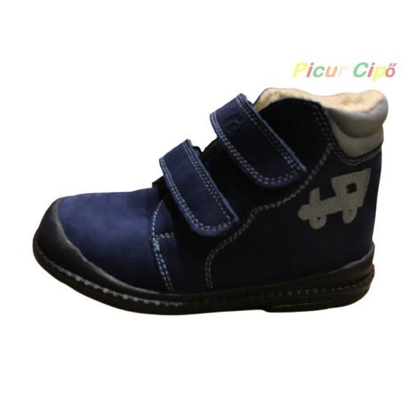 Salus - szupinált prémium flexi FLO 910 bélelt cipő, kék, világoskék, vonatos mintával