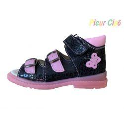 Salus - szupinált prémium flexi FLO 911 gyermekszandál, rózsaszín, fekete, pillangós