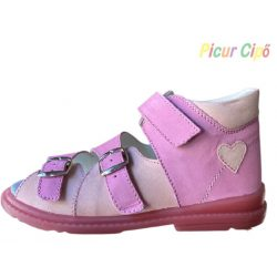 Salus - szupinált prémium flexi FLO 911 gyermekszandál, rózsaszín, szívecskés