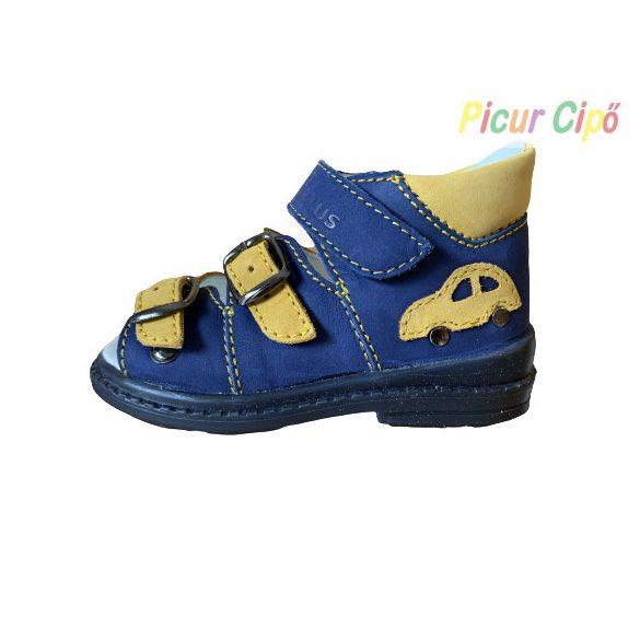 Salus - szupinált prémium flexi FLO 911 gyermekszandál, kék, sárga, autós