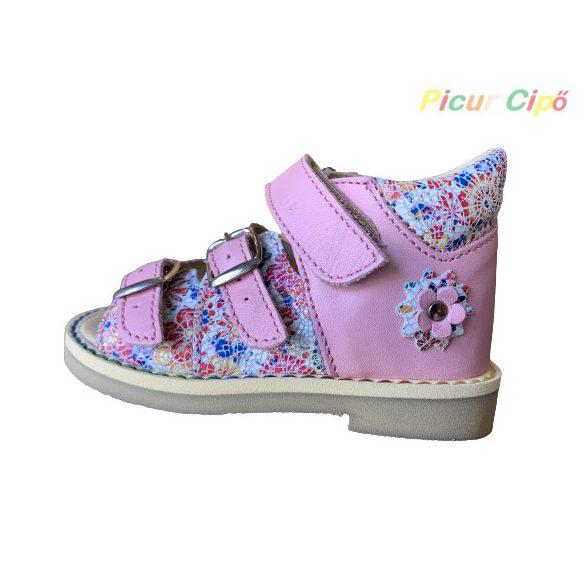 Salus - szupinált FLO 911 gyermekszandál, bokszbőr, rózsaszín, mintás virág