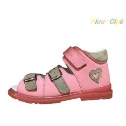 Salus - szupinált prémium FLO 911 gyermekszandál, rózsaszín, szürke, szívecskés mintával