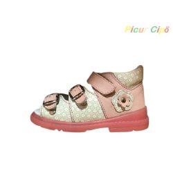 Salus - szupinált prémium flexi FLO 911 gyermekszandál, rózsaszín, fehér, virágmintával
