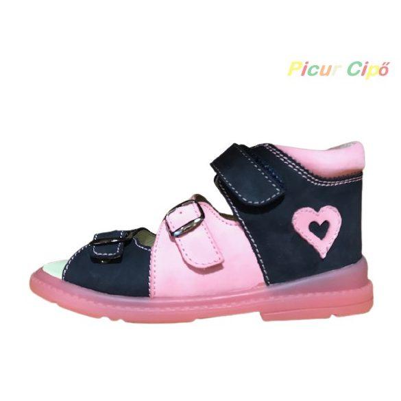 Salus - szupinált prémium FLO 911 gyermekszandál, sötétkék, rózsaszín, szívecske mintával