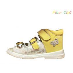 Salus - szupinált prémium FLO 911 gyermekszandál, sárga, ezüst, pillangó mintával