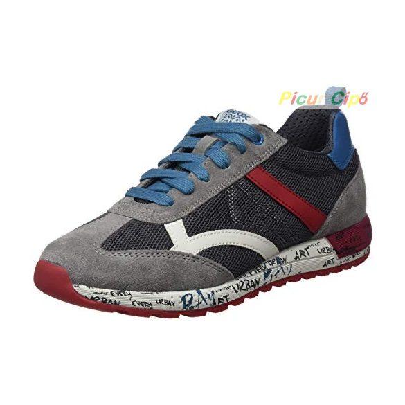 Geox - sportos átmeneti gyerekcipő, lélegző talpon, szürke, piros