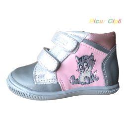 Asso -  átmeneti gyerekcipő, bokszbőr, szürke, rózsaszín, cicás