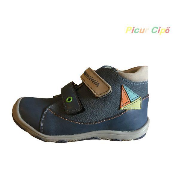 Linea - átmeneti gyerekcipő, bokszbőr, kék, hajós