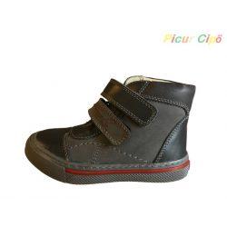 Linea - átmeneti gyerekcipő, bokszbőr, szürke, piros csíkkal